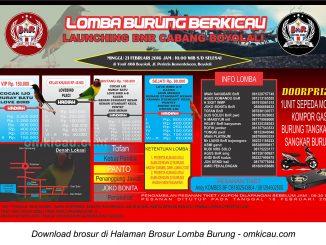 Brosur Lomba Burung Berkicau Launching BnR Boyolali, 21 Februari 2016