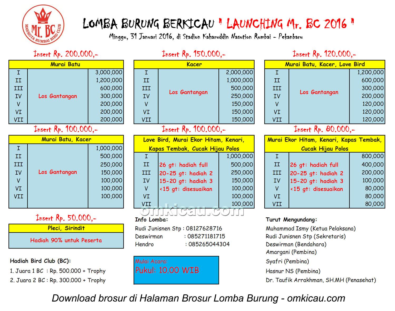 Brosur Lomba Burung Berkicau Launching Mr BC, Pekanbaru, 31 Januari 2016