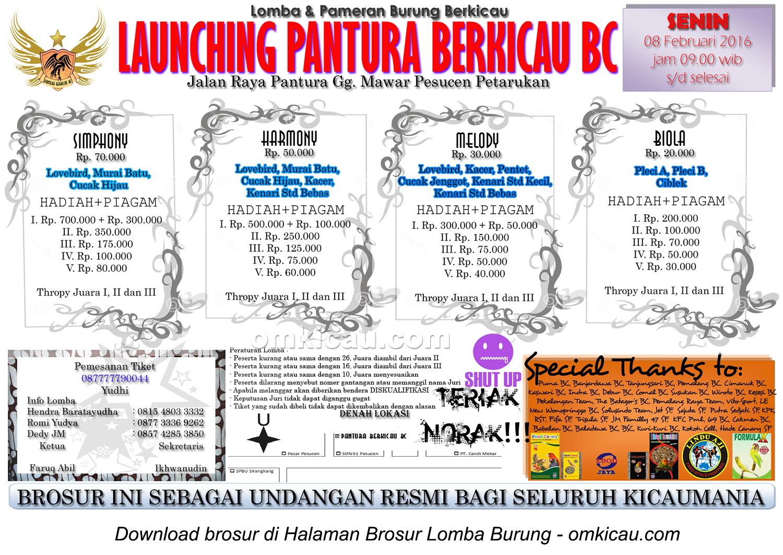 Brosur Lomba Burung Berkicau Launching Pantura Berkicau BC, Pemalang, Senin 8 Februari 2016
