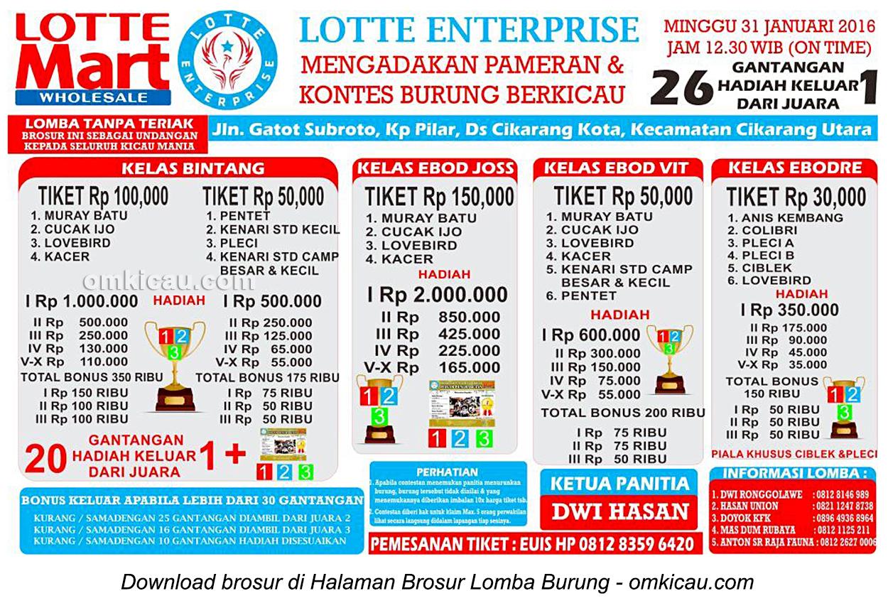 Brosur Lomba Burung Berkicau Lotte Enterprise, Cikarang, 31 Januari 2016