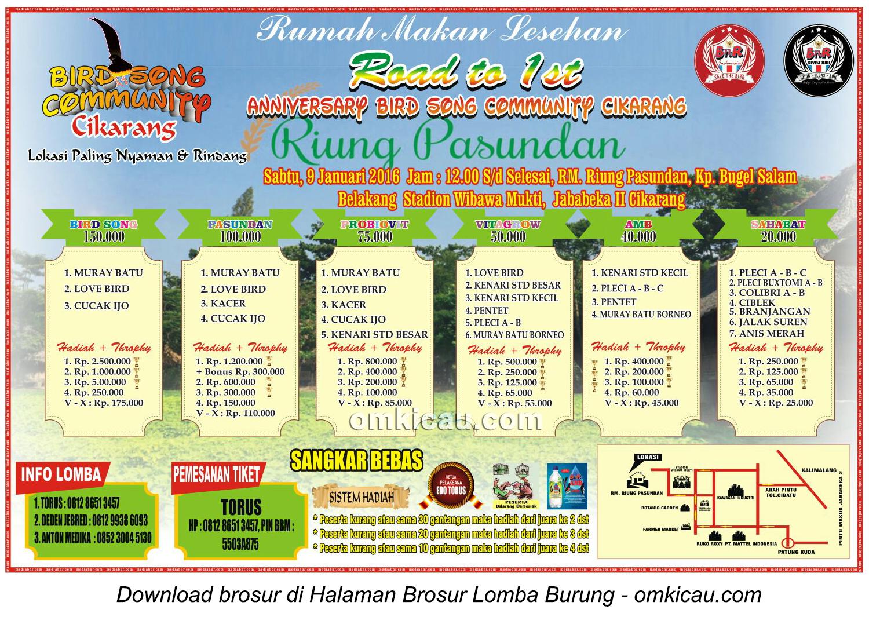 Brosur Lomba Burung Berkicau Road to 1st Anniversary BSC Cikarang, 9 Januari 2016