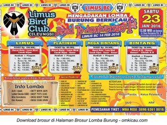 Brosur Lomba Burung Berkicau Road to 1st Anniversary Limus BC, Cileungsi, Sabtu 23 Januari 2016