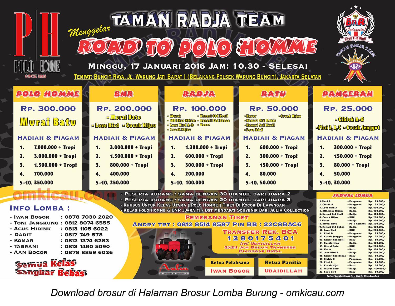 Brosur Lomba Burung Berkicau Road to Polo Homme, Jakarta Selatan, 17 Januari 2016