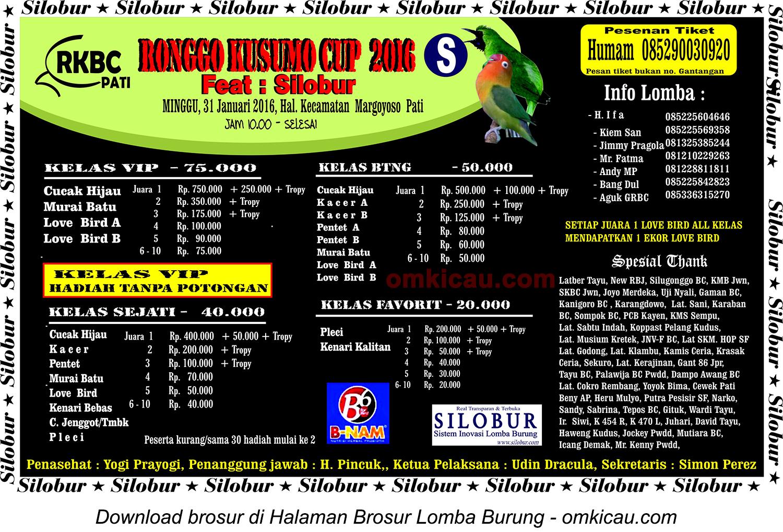 Brosur Lomba Burung Berkicau Ronggo Kusumo Cup feat Silobur, Pati, 31 Januari 2016