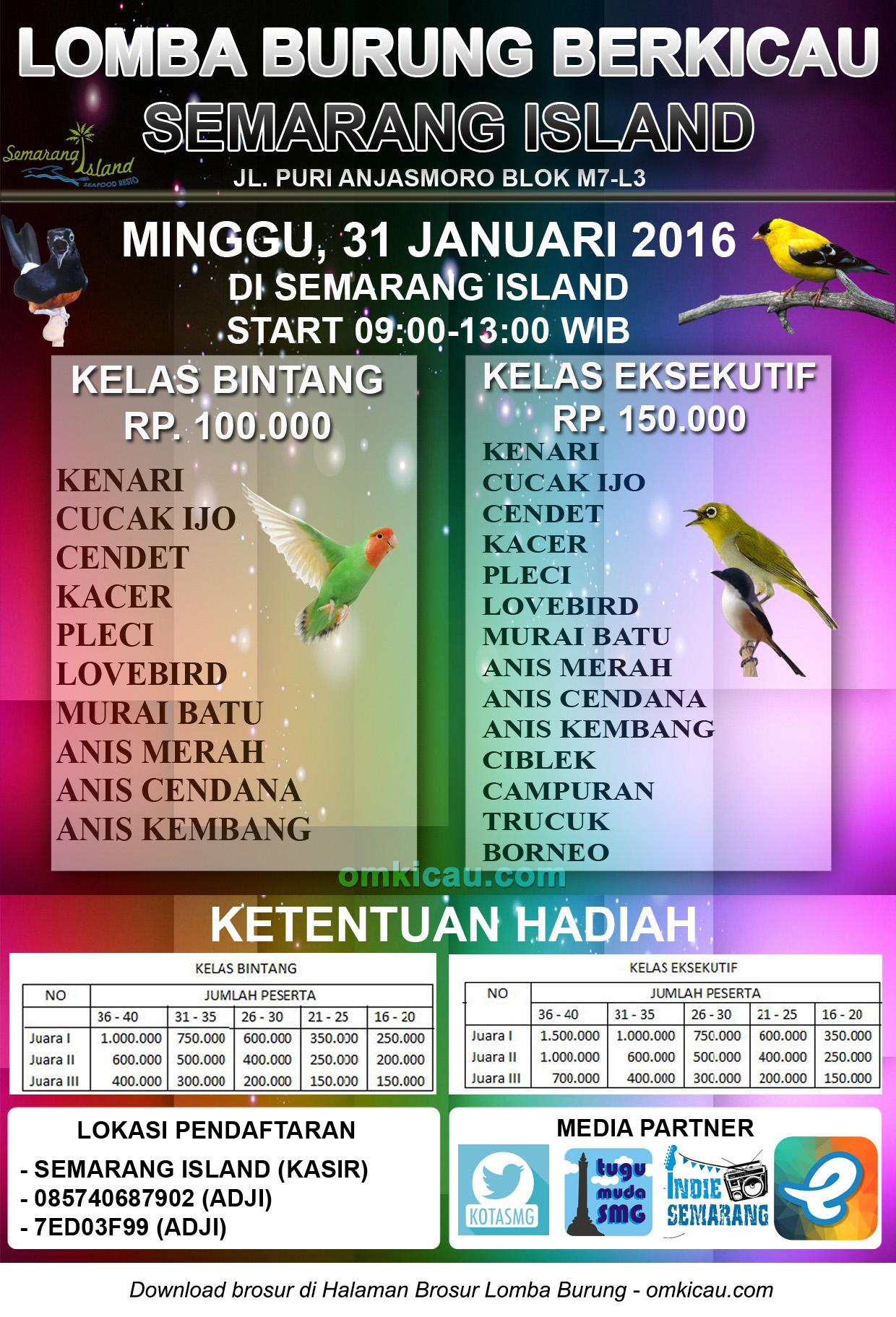 Brosur Lomba Burung Berkicau Semarang Island, 31 Januari 2016
