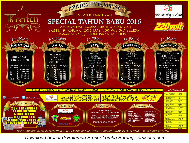 Brosur Lomba Burung Berkicau Special Tahun Baru Kraton Enterprise, Depok, 9 Januari 2016