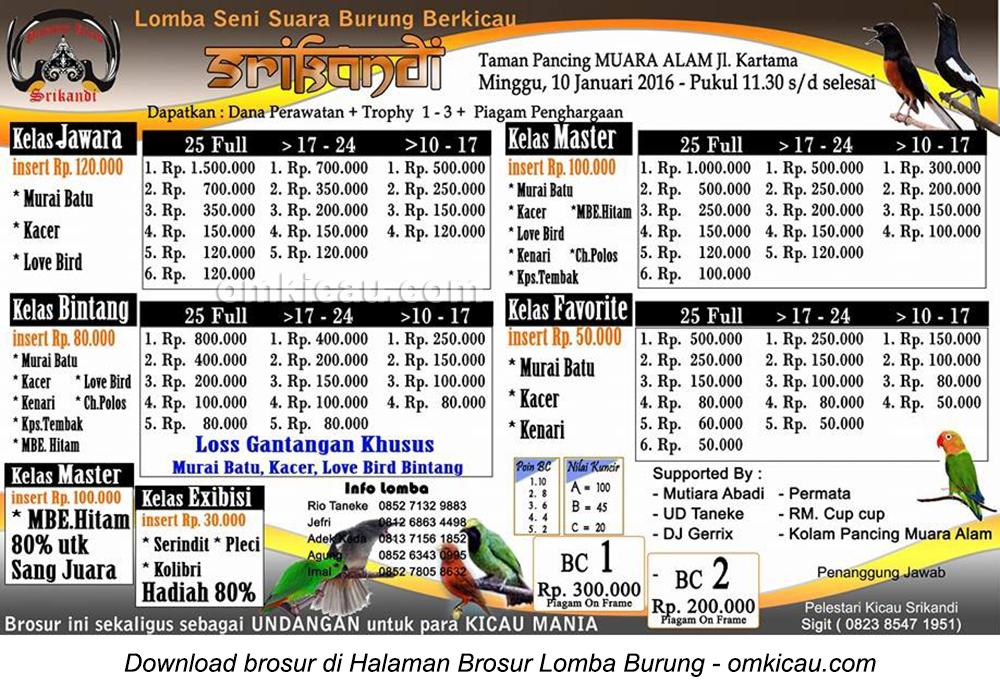 Brosur Lomba Burung Berkicau Srikandi, Pekanbaru, 10 Januari 2016