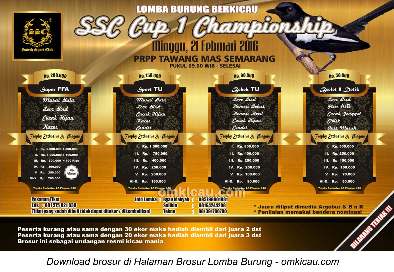 Brosur Lomba Burung Berkicau SSC Cup 1 Championship, Semarang, 21 Februari 2016