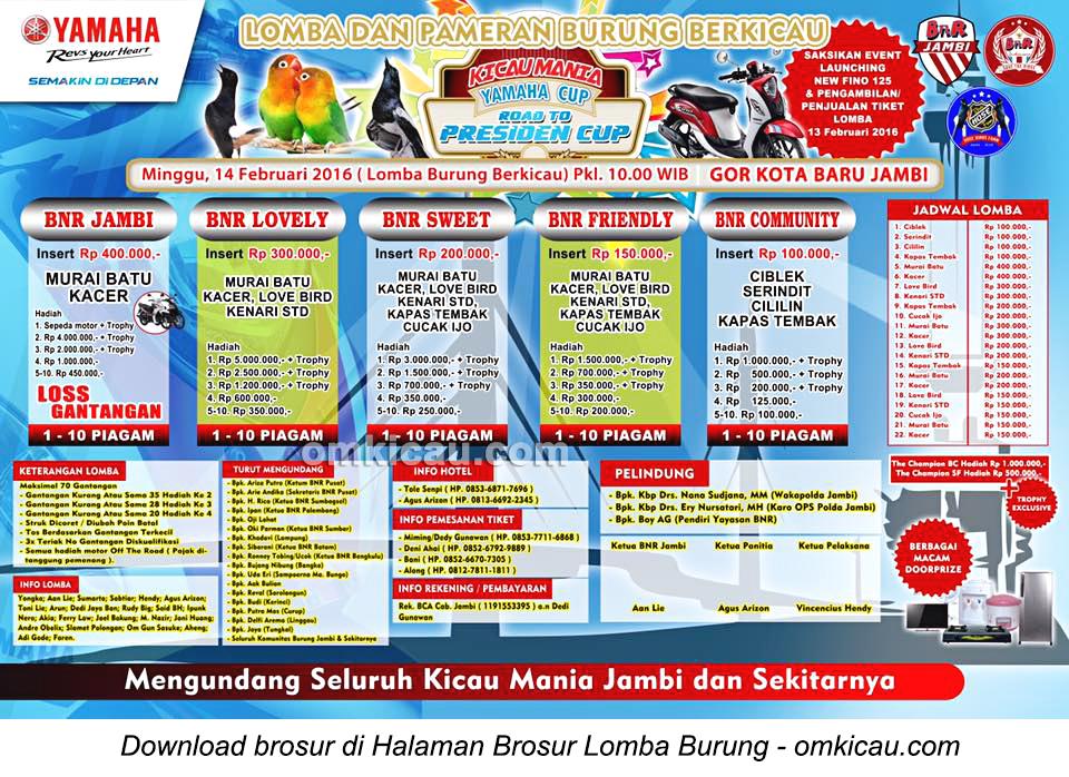 Brosur Lomba Burung Berkicau Yamaha Cup - Road to Presiden Cup, Jambi, 14 Februari 2016