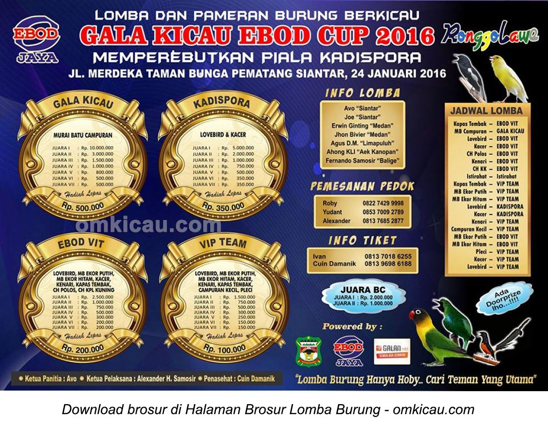Brosur Lomba Burung Gala Kicau Ebod Cup, Pematangsiantar, 24 Januari 2016