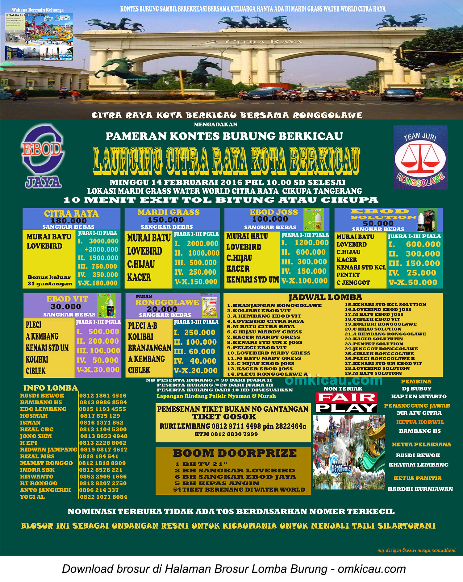 Brosur Lomba Burung Launching Citra Raya Kota Berkicau, Tangerang, 14 Februari 2016