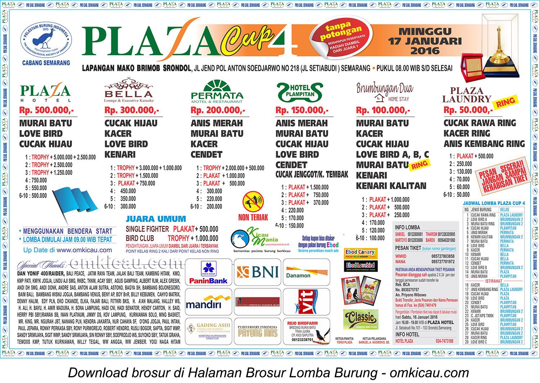 Brosur Terbaru Lomba Burung Berkicau Plaza Cup 4, Semarang, 17 Januari 2016
