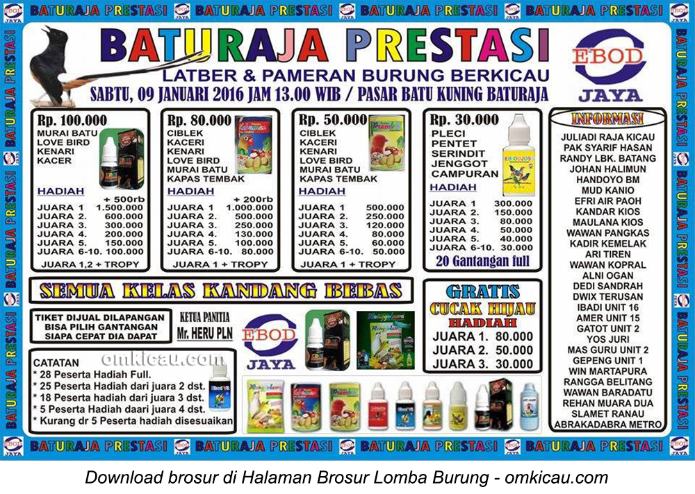 Brosur Latber Burung Berkicau Baturaja Prestasi, Pasar Batu Kuning Baturaja, 9 Januari 2016