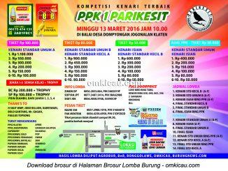 Brosur Kompetisi Kenari Terbaik PPK1 Parikesit, Klaten, 13 Maret 2016