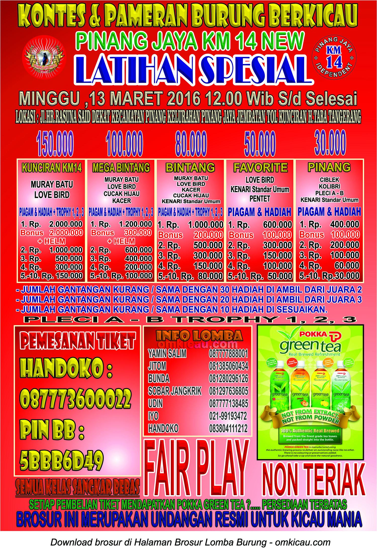 Brosur Latihan Spesial Pinang Jaya Km 14 New, Tangerang, 13 Maret 2016
