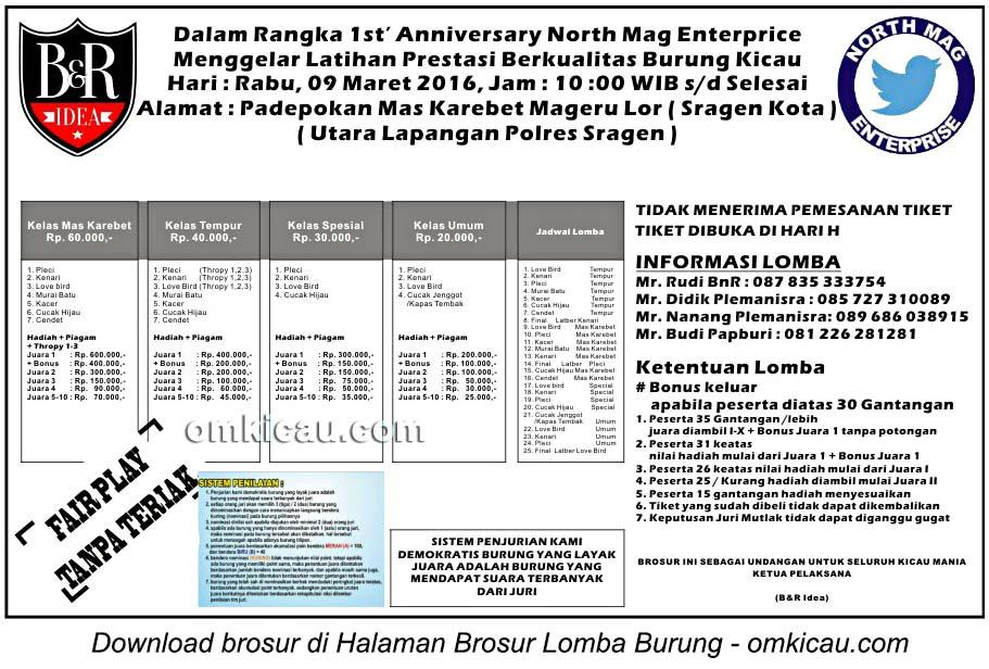 Brosur Latpres 1st Anniversary North Mag Enterprise, Sragen, 9 Maret 2016