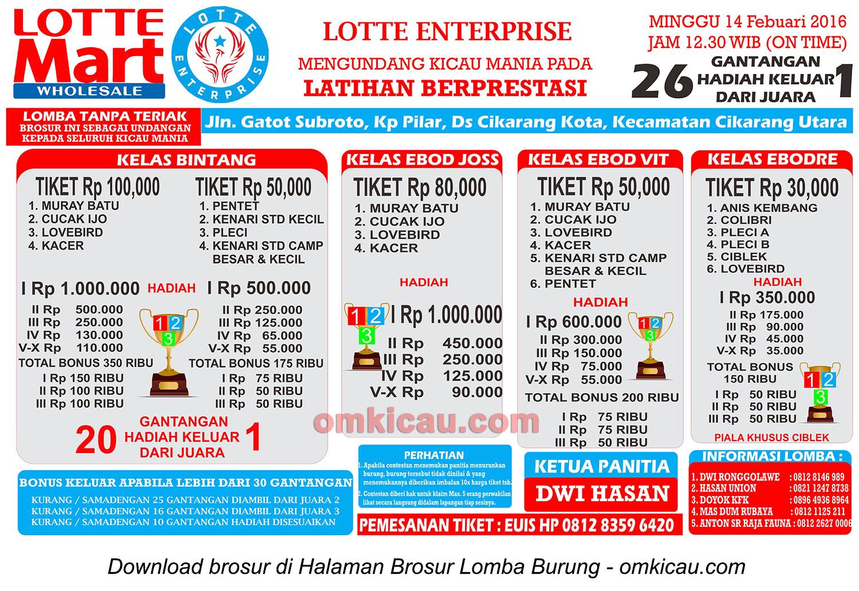 Brosur Latpres Burung Berkicau Lotte Enterprise, Cikarang, 14 Februari 2016