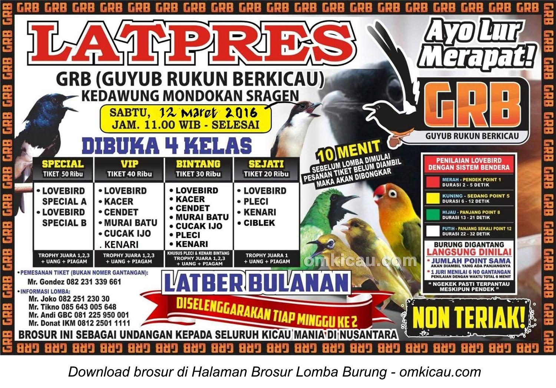 Brosur Latpres Guyub Rukun Berkicau (GRB) Sragen, 12 Maret 2016