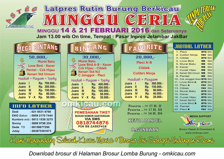 Brosur Latpres Minggu Ceria Asteg Enterprise, Jakarta Barat, 14 Februari 2016