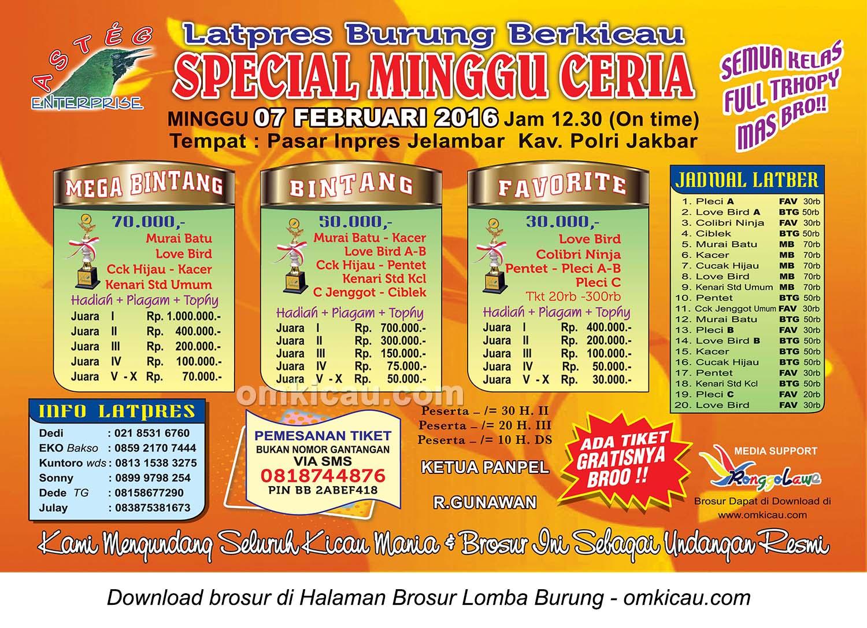 Brosur Latpres Special Minggu Ceria Asteg Enterprise, Jakarta Barat, 7 Februari 2016
