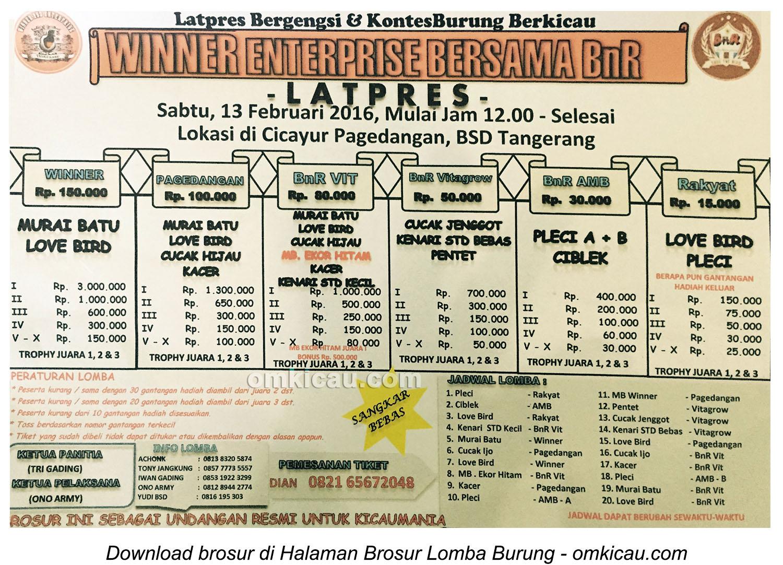 Brosur Latpres Winner Enterprise bersama BnR, BSD Tangerang, 13 Februari 2016