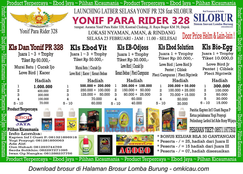 Brosur Launching Latber Selasa Yonif Para Rider 328 feat Silobur, Depok, 23 Februari 2016