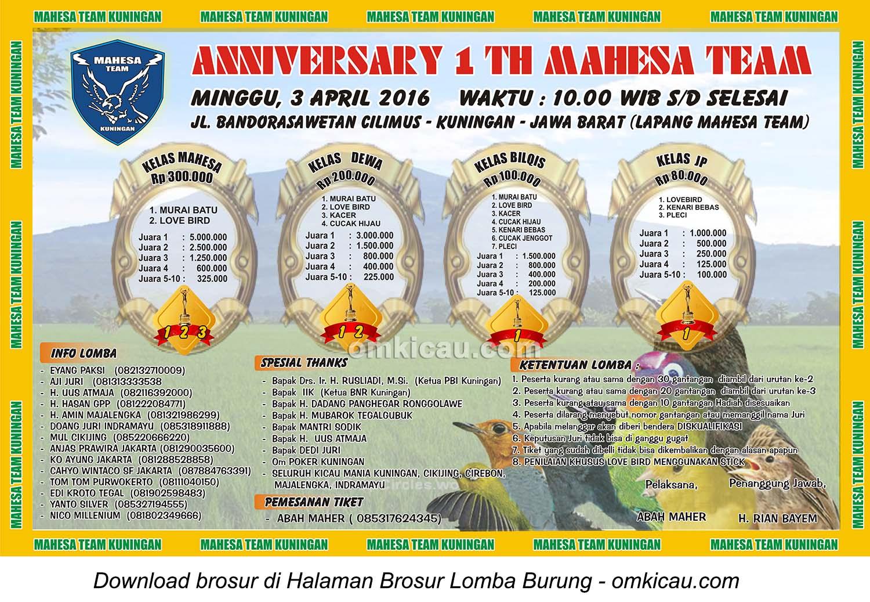 Brosur Lomba Burung Berkicau Anniversary 1 Tahun Mahesa Jenar, Kuningan, 3 April 2016