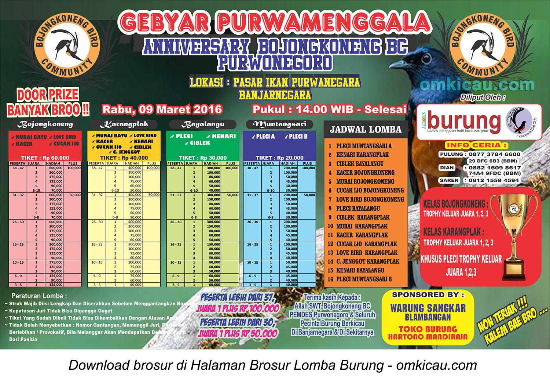 Brosur Lomba Burung Berkicau Anniversary Bojongkoneng BC, Banjarnegara, 9 Maret 2016