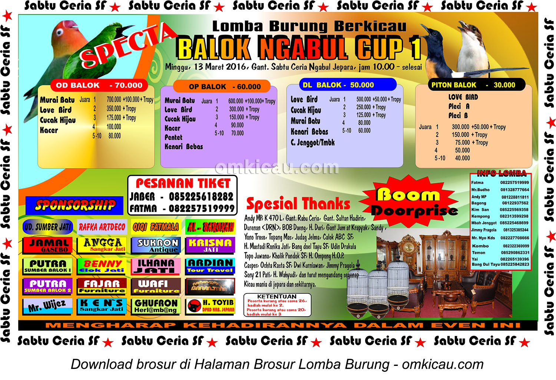 Brosur Lomba Burung Berkicau Balok Ngabul Cup 1, Jepara, 13 Maret 2016
