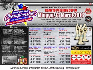Brosur Lomba Burung Berkicau DBCS 2 - Road to Presiden Cup IV, Jakarta Selatan, 13 Maret 2016
