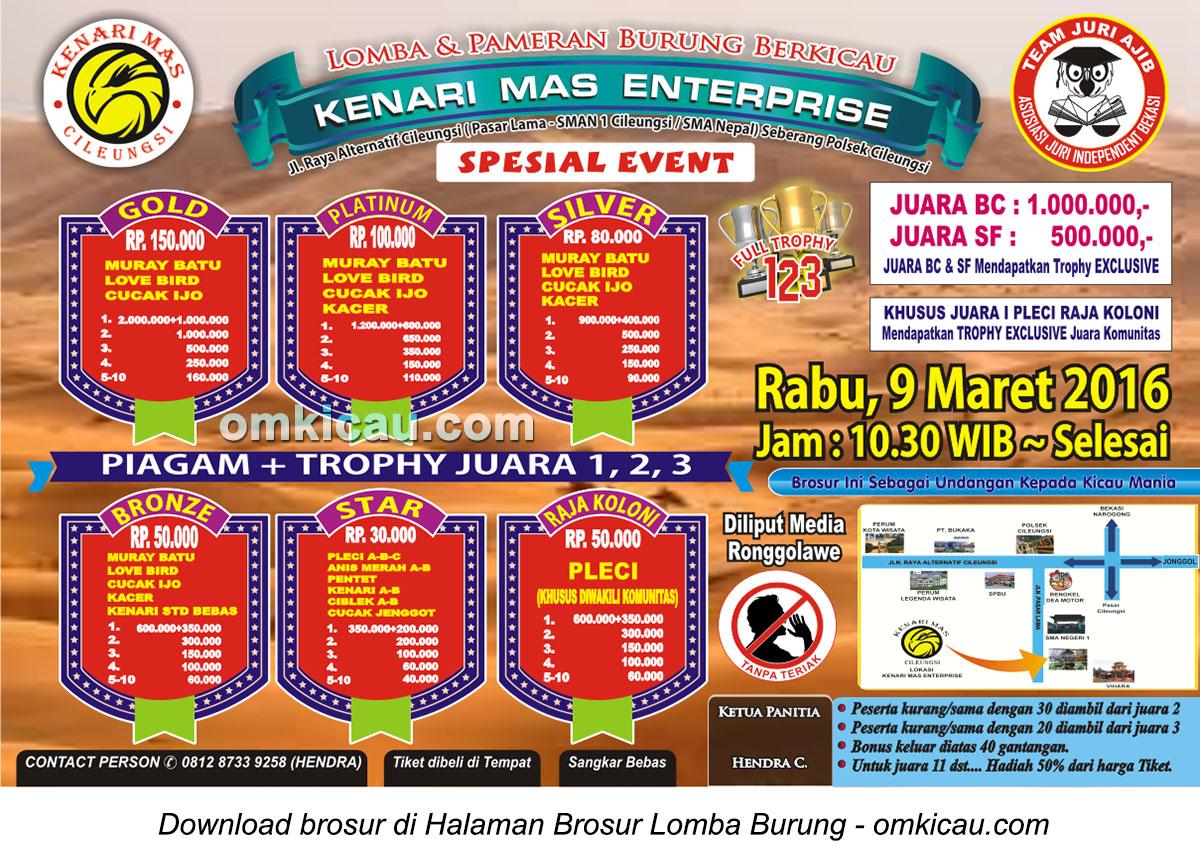 Brosur Lomba Burung Berkicau Kenari Mas Enterprise, Bogor, 9 Maret 2016