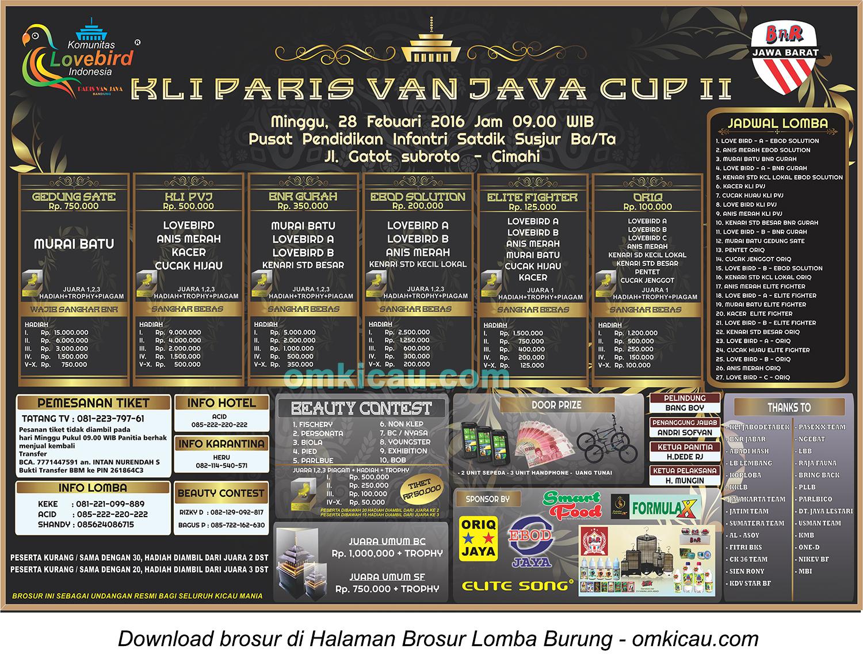 Brosur Lomba Burung Berkicau KLI Paris Van Java Cup II, Bandung, 28 Februari 2016