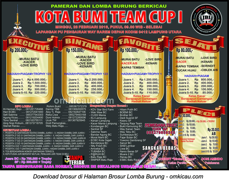 Brosur Lomba Burung Berkicau Kota Bumi Team Cup I, Lampung Utara, Minggu 28 Februari 2016