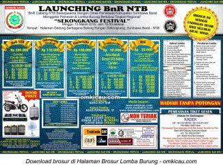 Brosur Lomba Burung Berkicau Launching BnR NTB, Sumbawa Barat, 13 Maret 2016