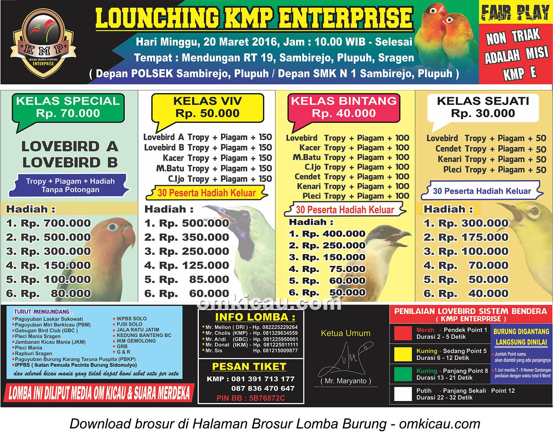 Brosur Lomba Burung Berkicau Launching KMP Enterprise, Sragen, 20 Maret 2016