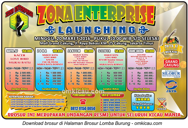 Brosur Lomba Burung Berkicau Launching Zona Enterprise, Jakarta Timur, 20 Maret 2016