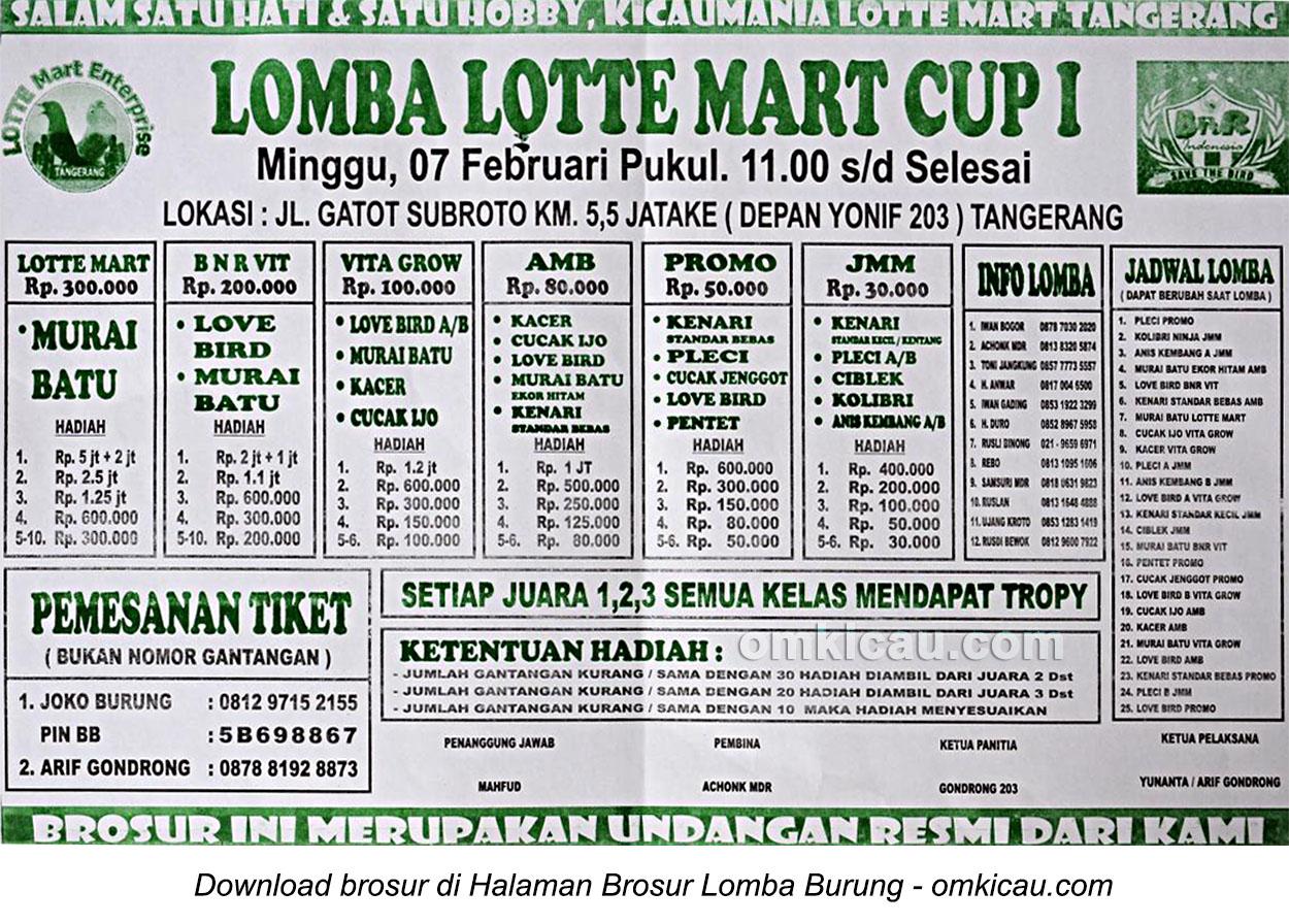 Brosur Lomba Burung Berkicau Lotte Mart Cup I, Tangerang, 7 Februari 2016