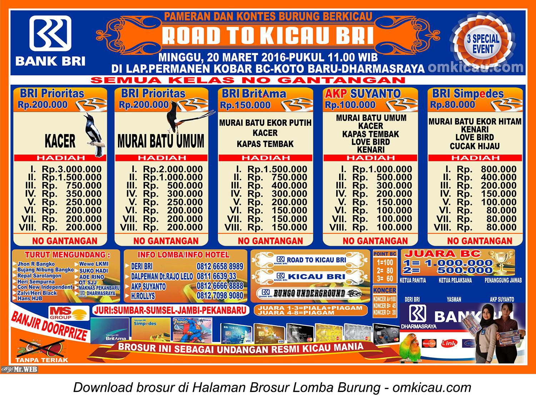 Brosur Lomba Burung Berkicau Road to Kicau BRI, Dharmasraya, 20 Maret 2016