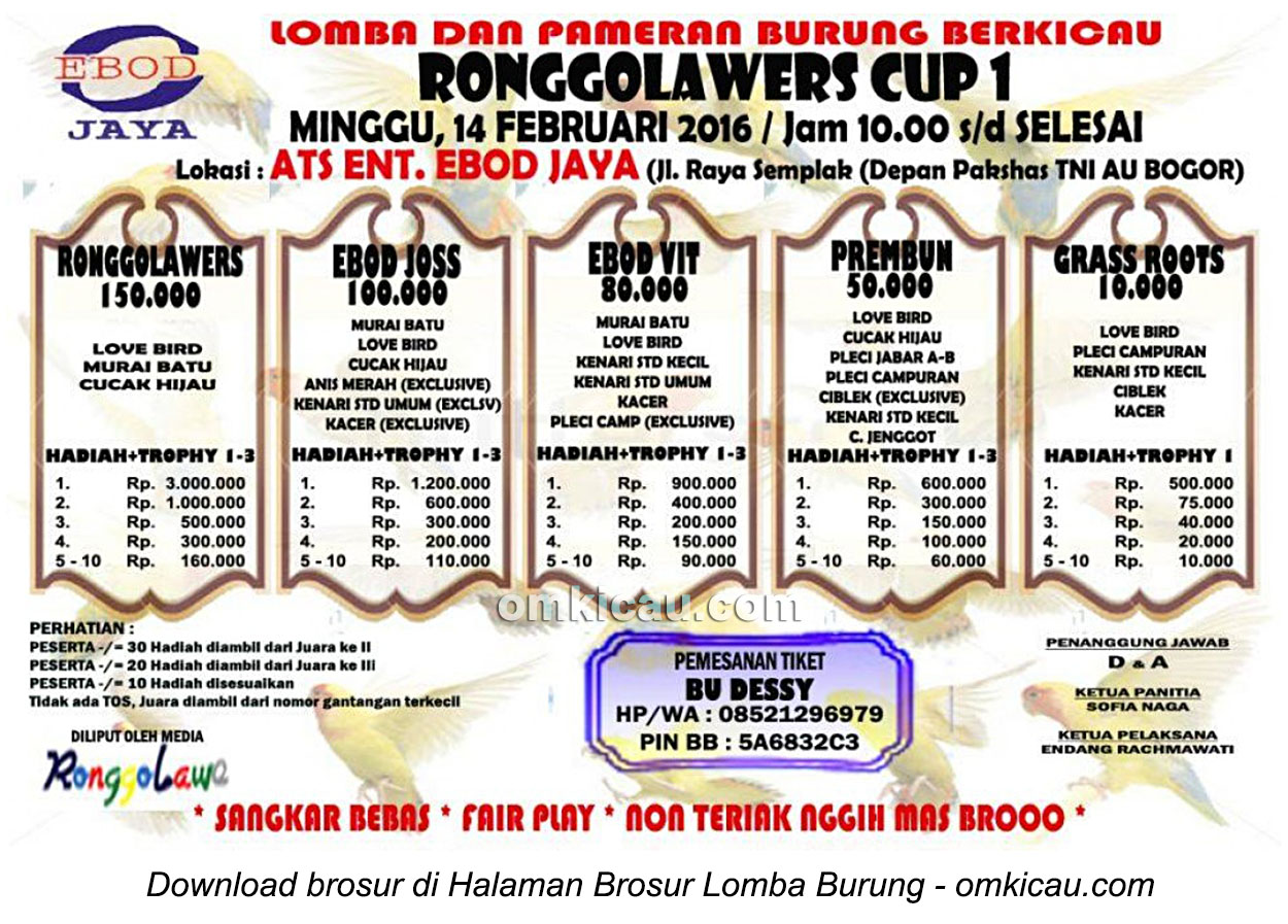 Brosur Lomba Burung Berkicau Ronggolawers Cup 1, Bogor, 14 Februari 2016