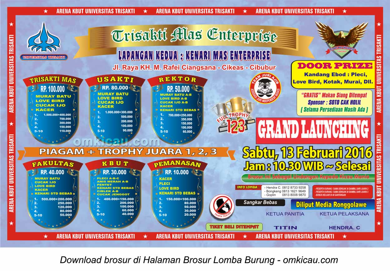 Brosur Lomba Burung Berkicau Trisakti Mas Enterprise, Cibubur, 13 Februari 2016