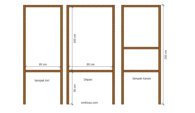 Skema rangka kandang dan ukuran yang digunakan