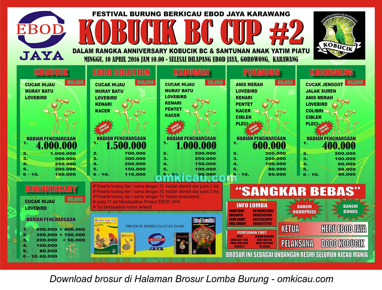 Brosur Festival Burung Berkicau Kobucik BC Cup #2, Karawang, 10 April 2016