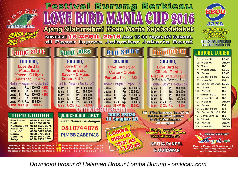 Brosur Festival Berkicau Love Bird Mania Cup, Jakarta Barat, 10 April 2016