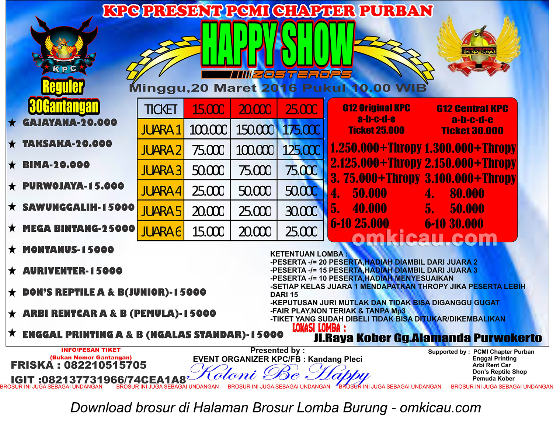 Brosur Kontes Pleci KPC - Happy Show Zosterops, Purwokerto, 20 Maret 2016