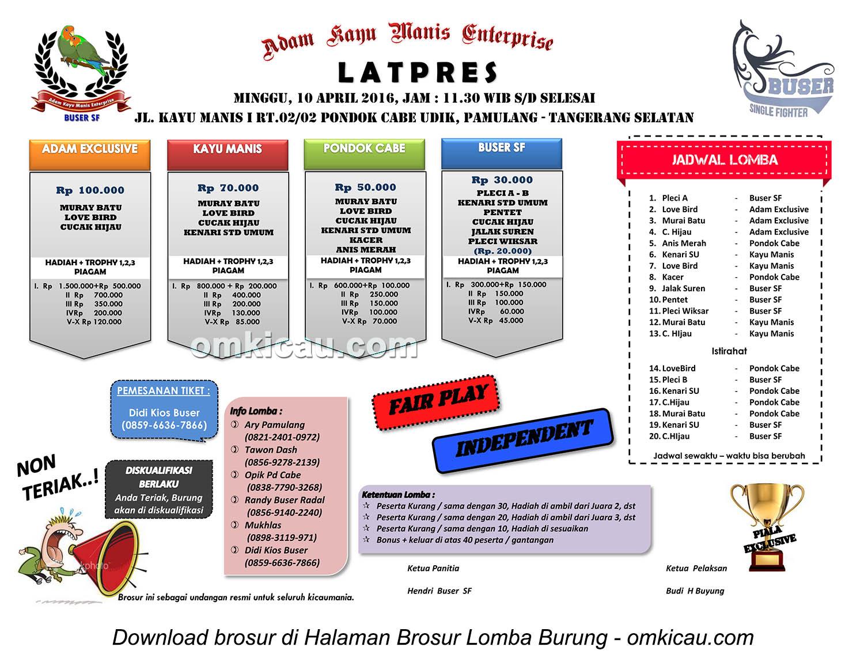 Brosur Latpres Adam Kayu Manis Enterprise, Tangerang Selatan, 10 April 2016