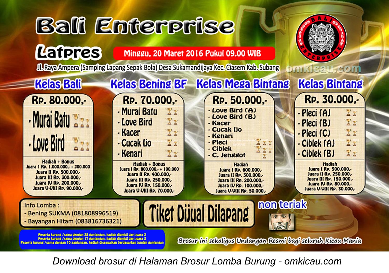 Brosur Latpres Burung Berkicau Bali Enterprise, Subang, 20 Maret 2016