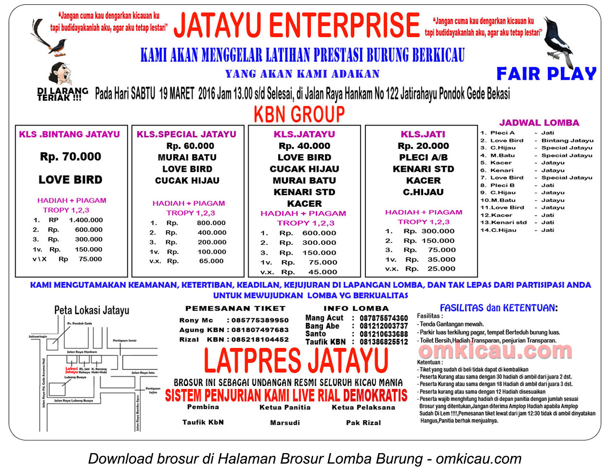 Brosur Latpres Burung Berkicau Jatayu Enterprise, Bekasi, 19 Maret 2016