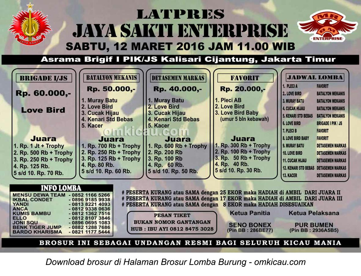 Brosur Latpres Burung Berkicau Jaya Sakti Enterprise, Jakarta Timur, 12 Maret 2016