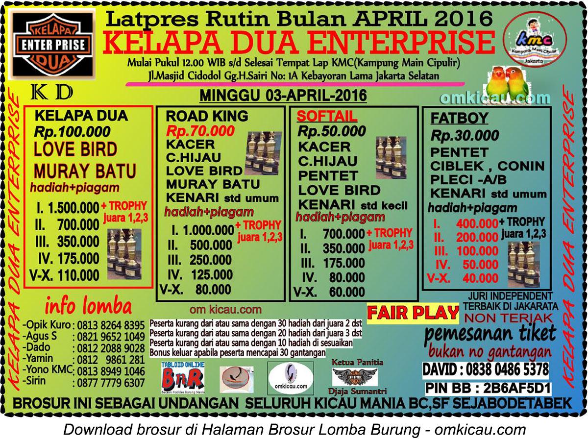 Brosur Latpres Burung Berkicau Kelapa Dua Enterprise, Jakarta Selatan, 3 April 2016