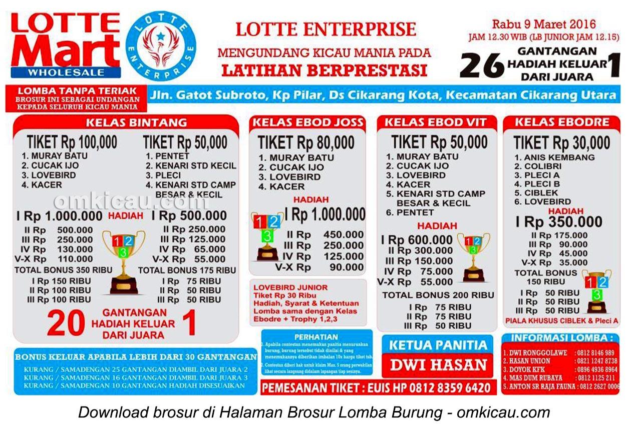 Brosur Latpres Burung Berkicau Lotte Enterprise, Cikarang, 9 Maret 2016